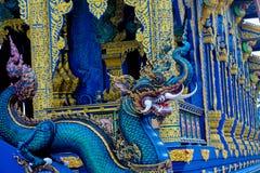 Statue des blauen Drachen im blauen Tempel Chiang Rai, Thailand Lizenzfreies Stockfoto