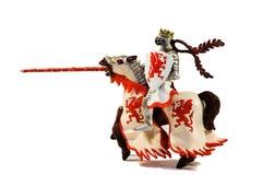 Statue des gepanzerten Mitfahrerritters mit Lanze auf Pferd Lizenzfreies Stockbild