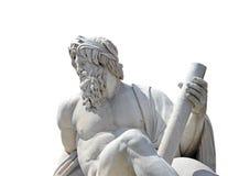 Statue des Gottes Zeus in Berninis Brunnen der vier Flüsse im Marktplatz Navona, Rom (Isolat mit Beschneidungspfad) stockbild
