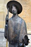 Statue des Heiligen Jakob Oberteil in Rothenburg-ob der Tauber halten, Stockbild