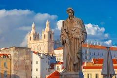 Statue des Heiligen Vincent, der Schutzpatron von Lissabon Stockbild