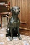 Statue des Hundes auf hölzernem Hintergrund als Innengestaltungselement Stockbilder