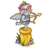 Statue des kleinen Amors mit Flügeln und goldenem Bogen stock abbildung