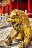 Statue des lions à l'intérieur du territoire du Cité interdite Muse Photo libre de droits