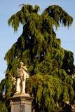 Statue des Mannes mit dem Bart gelegt vor einem großen Baum in Vicenza in Venetien (Italien) Lizenzfreie Stockfotos