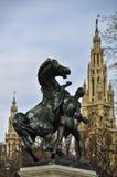 Statue des Mannes mit Pferd in Wien Lizenzfreie Stockfotos