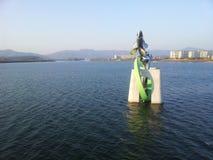 Statue des poissons dans l'eau de la rivière de Soyang Photo stock