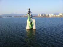 Statue des poissons dans l'eau de la rivière de Soyang Photos libres de droits