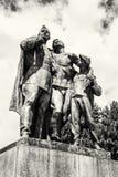 Statue des soldats russes et du garçon, Slavin - monume commémoratif photo stock