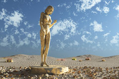 Statue in desert Stock Photography