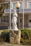 Statue devant le bureau principal de l'usine de fanagoria de vin, village Sennoy, Mira Street 49 Photos libres de droits