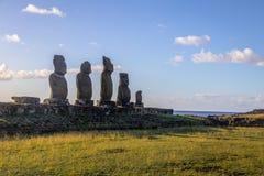 Statue di Ahu Tahai Moai vicino a Hanga Roa - l'isola di pasqua, Cile Fotografie Stock Libere da Diritti