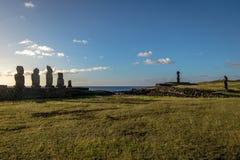 Statue di Ahu Tahai Moai vicino a Hanga Roa - l'isola di pasqua, Cile Fotografia Stock