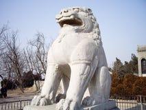 Statue di pietra del leone-cane del guardiano lungo la strada di spirito del mausoleo di Qianling, Xian, Cina Fotografia Stock Libera da Diritti