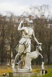 Statue of Diana in the Jardin du Luxembourg, Paris, France. Statue of Diana, a Roman goddess of the hunt, the Moon, and nature, associated with wild animals and royalty free stock photography