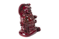 Statue, die Buddha - Budai oder Hotei lacht lokalisierter netter Mönch Stockfoto