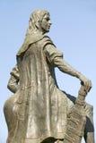 Statue of Diego Columbus, son of Christopher Columbus, at 15th-century Franciscan Monasterio de Santa Mar�a de la R�bida. Palos de la Frontera, the royalty free stock image