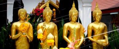 Statue diritte dorate di Buddha in una fila Fotografie Stock Libere da Diritti