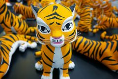 Statue or Doll of Tiger in International Global Tiger Day as Annual Celebration to Raise Awareness. For Its Conservation Effort royalty free stock image