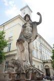 Statue Dolphin and Amphitrite. In Lviv stock image