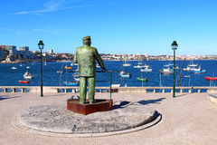 Statue of Dom Carlos in Cascais, Portugal. The Statue of Dom Carlos I, King of Portugal, overlooking the harbor in Cascais, Portugal Royalty Free Stock Image