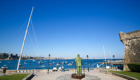Statue of Dom Carlos I in Cascais, Portugal Stock Photos