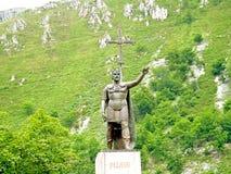 Statue of Don Pelayo; spanish conqueror Stock Photos