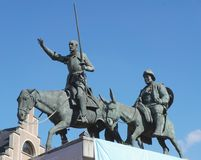 Statue of Don Quixote and Sancho Panza in Brussels Stock Photo