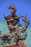 A statue of a dragon decorates the ridgepole of a Buddhist temple in Saïgon, Vietnam Royalty Free Stock Photo