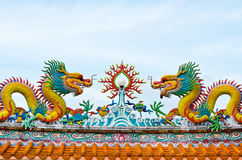 Statue of  dragons on the roof Royalty Free Stock Photography