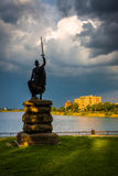 Statue and Druid Lake at Druid Hill Park, Baltimore, Maryland. Stock Images