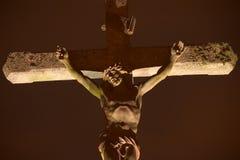 Statue du Christ la nuit Photographie stock libre de droits