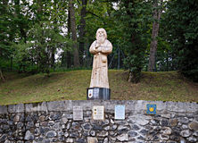 Statue du pèlerin sur le chemin de St James Photo stock