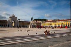 Statue du Roi Jose I sur la place de commerce Photographie stock libre de droits