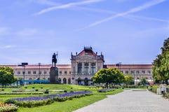 Statue du Roi Tomislav sur Tomislav Square à Zagreb, vue arrière image libre de droits