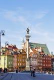 Statue du Roi Zygmunt III Waza à la place de château Image libre de droits
