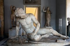 Statue of the The Dying Gaul. The Dying Gaul, formerly known as the Dying Gladiator, is an ancient Roman marble copy of a lost bronze Hellenistic sculpture Royalty Free Stock Images