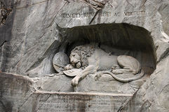 Statue of dying lion in Lucerne Royalty Free Stock Photo