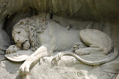 Statue of dying lion in Lucerne stock photography
