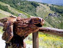 Statue of eagle in wood. Statue of eagle carved in wood Stock Photos