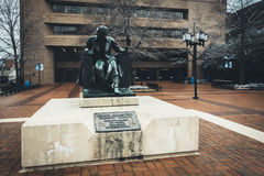 Statue of Edgar Allen Poe at the University of Baltimore, in Baltimore, Maryland. Statue of Edgar Allen Poe at the University of Baltimore, in Baltimore stock image