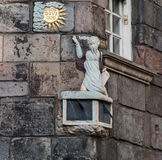 Statue and Edinburgh architecture Royalty Free Stock Photo