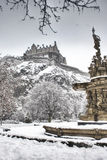 Statue and edinburgh castle Stock Images