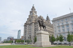 Statue of Edward VII Seated on Horseback on the Pier Head in Liverpool, England Stock Photos