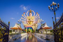 Statue of eighteen arms Buddha in Samui, Thailand Royalty Free Stock Photos