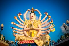 Statue of eighteen arms Buddha in Samui, Thailand Royalty Free Stock Images