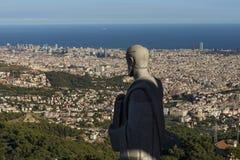 Statue eines Heiligen bei Tibidabo Stockfotos