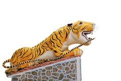 Statue eines Tigers auf einem Weiß Lizenzfreie Stockfotografie