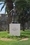 Statue eingeweiht Don Diego De Meneses Captain Of Malaga und Gouverneur Of India Of das Jahrhundert XIV in Cascais r stockbilder