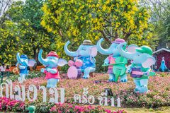 Statue elephant at Chiangrai ASEAN Flowers Festival. Royalty Free Stock Photo